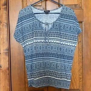 Lucky Brand BOHO Aztec print periwinkle blue Top M